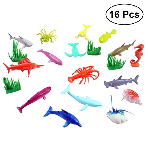 TOYMYTOY Animales Marinos de Plástico Juguetes de Aprendizaje para Niños Bebés 16 Piezas