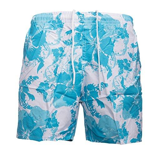 Herren Bade-Hose · Regular Fit · Kurze Bade-Shorts · Floral Flower Print · Sommer Sport Schwimmhose · Hawaii · Netzeinsatz · Schwimmbad Strand · Hibiskus Blumen-Muster · H1495 von Max Men (Blumen-print-hose)
