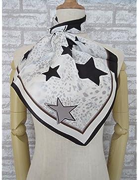 Mujer pequeñas estrellas negras de satén 100% seda bufanda cuadrada