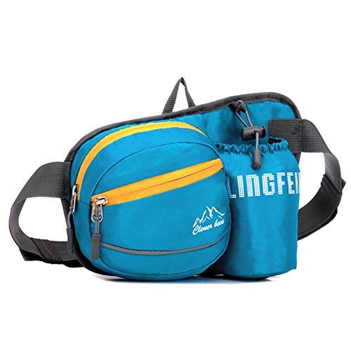 CloSoul Direct Herren Damen Kinder Hüfttasche mit flaschenhalter wasseraweisende Bauchtasche Gürteltasche Blau
