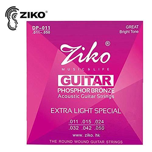 FindeGo Set Akustik-Gitarren Saiten ZIKO DP 010-012 Akustik-Gitarren Saiten Musikinstrumente Phosphor Bronze Saiten Professionelle Gitarren-Teile