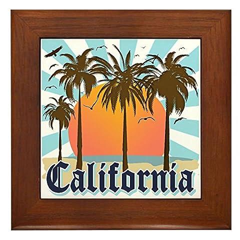 CafePress - Vintage California Framed Tile - Framed Tile, Decorative Tile Wall Hanging
