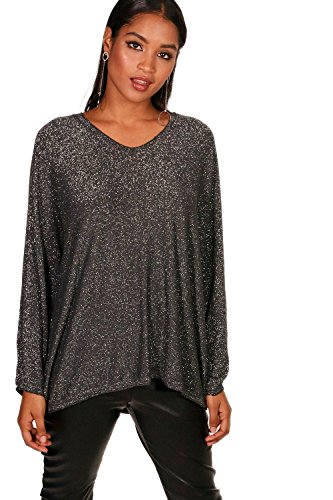 charbon Femmes Anna Oversized Metallic V Neck Knitted Top Charbon