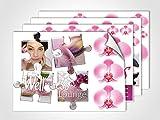 GRAZDesign 401021_4 Wandsticker Wellness Lounge | Wandtattoo Sticker Set für Badezimmer/Badfliesen (DIN A4 (4Stück))