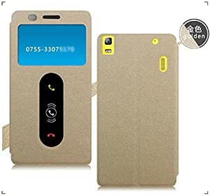 Best Deals - Original Pudini Branded Gold Sand Pattern Lenovo A7000 / K3 Note Flip Cover Case - Gold