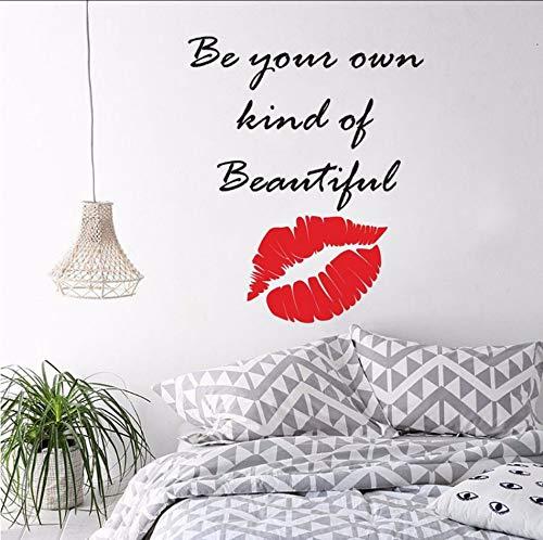 (Dalxsh Make-up Zitat Lippen Wandaufkleber Schönheitssalon Dekoration Kosmetik Make-Up Künstler Wandtattoo Vinyl Lippen Fenster Wandbilder 47x57 cm)