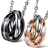 Oidea 1 Paar(2PCS) Freundschaftsketten mit Anhänger, Edelstahl 'The world looks wonderful when i am with you' Gravur 3 Ringe Partner-Anhänger mit Halskette, Schwarz Silber Rosegold