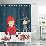 Teyyn-son-Shower curtain Dekorative Duschvorhang Kostüm von Rotkäppchen und Grauer Wolf Fabel Kids Alone Animal Basket Boy Wasserdicht Badezimmer Duschvorhänge