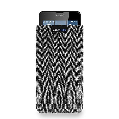 Adore June Business Tasche für Microsoft Lumia 640 Handytasche aus charakteristischem Fischgrat Stoff - Grau/Schwarz | Schutztasche Zubehör mit Display Reinigungs-Effekt | Made in Europe