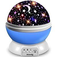 Moredig Lampara Proyector Infantil, 360° Rotación y 8 Modos Iluminación Proyector de Estrellas, Luz de Nocturna para Niños y Bebés Cumpleaños, Día de los Reyes, Navidad, Halloween(Azul)