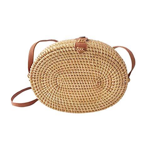 DEBJKJSK Ovale handgemachte Rattan gewebte Handtasche MessengerBags für Strand Reisetaschen Urlaub Bambus Tasche Natürliches Rattan für Frauen -