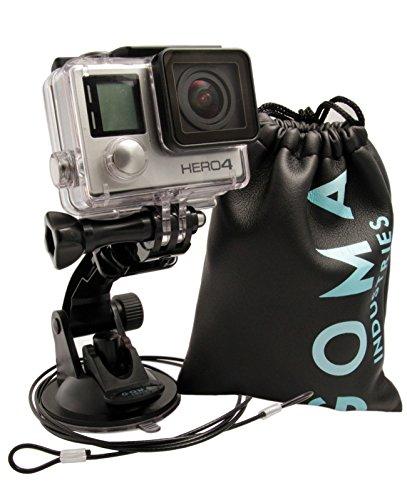 GOMA Industries Saugnapf halterung für GoPro Hero4 Hero3 Hero2 und Hero Cameras und camcorders SJcam SJ4000, SJ5000 und xiaomi Yi Bundled mit Sicherheitskabel und Schutztasche