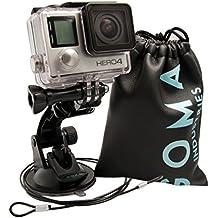 Soporte de Ventosa para GoPro GOMA Solid. Montura para coche compatible con Hero5 Hero4 Hero3 Hero2, SJcam, SJ4000, SJ5000, Xiaomi Yi y otras cámaras de acción. Incluye cable metálico de seguridad y bolsa de protección.
