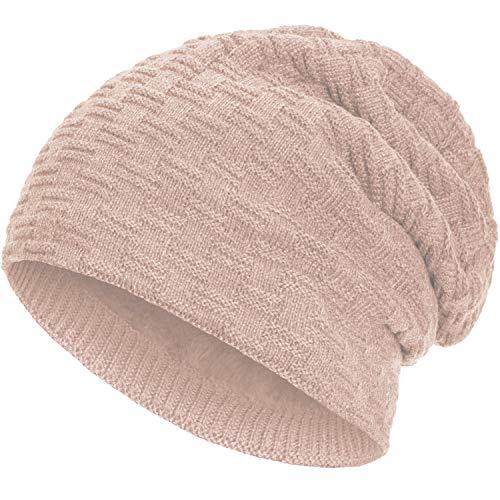 Compagno warm gefütterte Beanie Wintermütze angesagtes Strickmuster Fleece-Futter Mütze Einheitsgröße, Farbe:Rose