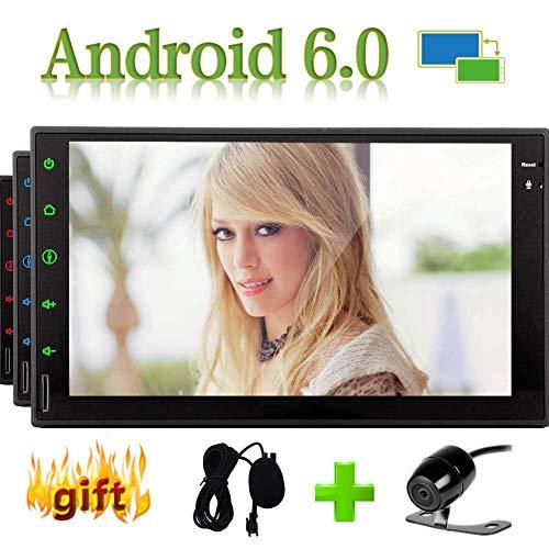 Android 6.0 Eibisch System 7 Zoll GPS-Navigation Car Audio Stereo In Dash Doppel-DIN-Unterstützungs-GPS-Bluetooth Subwoofer WIFI 3G & 4G Radio-Video SD USB OBD Externe Mircophone Mit Back-up-Kamera (Handy-back-up-kamera)