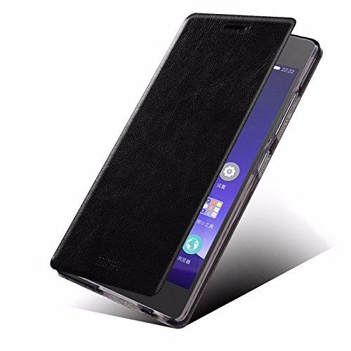 Defender MOFI Premium Vintage British Leather Slim Flip Best Cover Case with Back Stand For Samsung Galaxy Grand Max - BLACK