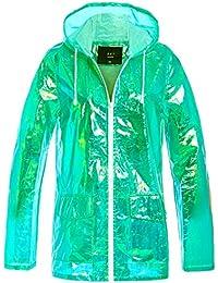 f6ef28f2f310c1 SS7 Frauen Holographic Regen Mac Wasserdichte Regenjacke Damen Rosa Jacke  Größe ...