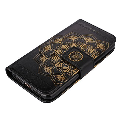 iPhone 6 Plus Hülle,iPhone 6S Plus Lederhülle,iPhone 6 Plus /6S Plus Ledertasche Brieftasche,JAWSEU Schön Prägung Henna Mandala Blume Muster Lanyard/Strap Pu Leder Flip Wallet Cover im Book Style Magn Blume,Schwarz