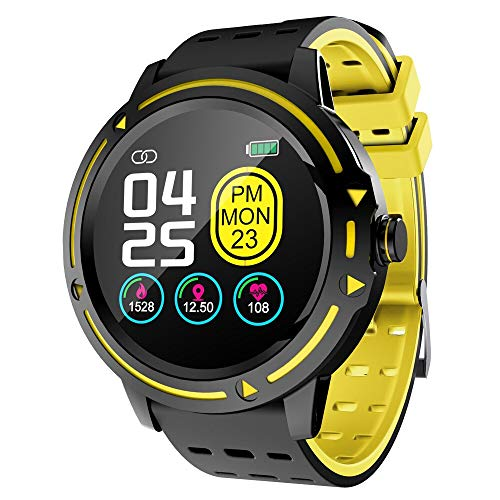 OPTA SB-163 Bluetooth Fitness Watch with Full Touch Screen Display,All Day Heart Rate and Activity Tracking Smart Band for Android & iOS(Yellow)