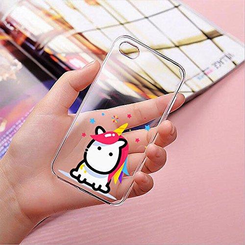 finoo | iPhone 8 Plus Handy-Tasche Schutzhülle | ultra leichte transparente Handyhülle in harter Ausführung | kratzfeste stylische Hard Schale mit Motiv Cover Case |Einhorn 02 Einhorn bunte Haare