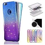 Sycode - Carcasa de silicona para iPhone 6S Plus y 6 Plus con purpurina de 360 grados, diseño moderno de color degradado en la parte delantera y trasera, transparente, ultrafina, a prueba de golpes, ajuste delgado, cristal, transparente, para iPhone 6S Plus y 6 Plus, color amarillo