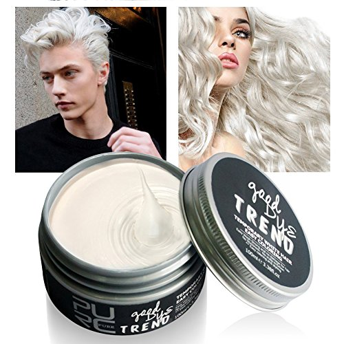 OYOTRIC White Hair Wax, Professional White Ash Hair Wax, Natural Matte Hairstyle Hair Dye Wax for Party, Cosplay