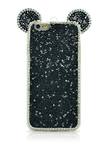 iProtect TPU coque de protection à paillettes pour Apple iPhone 6 Plus Soft Case avec dragonne et oreilles en or Paillettes Noir