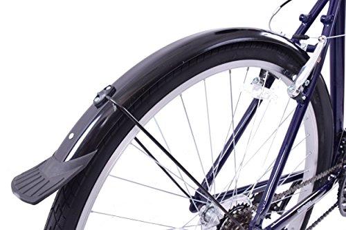 "51i6ocrdvEL - Professional Downtown 700c Wheel Mens Hybrid Bike Alloy 18"" Frame Dark Blue 18 Speed & Mudguards"