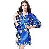 Yvelands Damen Bedruckt Nachtwäsche Halbarm Nachtwäsche Satin Top Pyjama Bluse Home Print Bademantel (L,Blau)