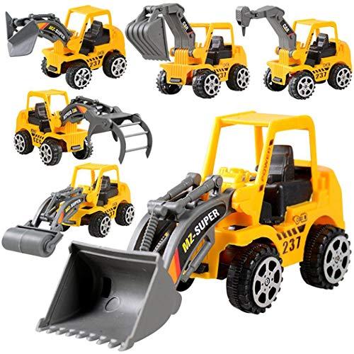 Gfone 6 Pezzi/Set Giocattoli per Bambini Mini Inertia Engineering Veicolo per Escavatore Model Toys Set Regali per Ragazzi Autoveicoli 13x6x4,5 cm