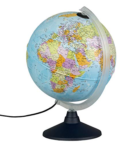 Idena 10411 - Globus mit politischem Kartenbild bei ausgeschalteter Beleuchtung und Sternbildern beim Einschalten des Lichtes, ca. 25 cm im Durchmesser