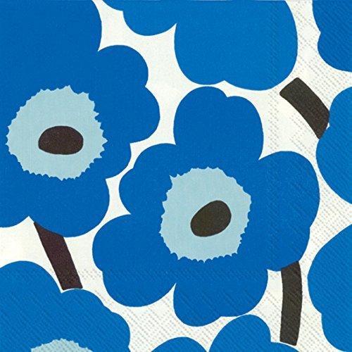 marimekko-finlandais-designer-luxe-marimekko-unikko-bleu-serviettes-de-table-de-papier-traditionnel-