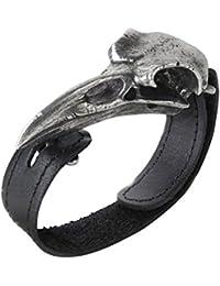 Alquimia gótico Rabeschadel Raven calavera pulsera de cuero