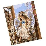 MagiDeal Rahmenloses DIY Malerei , Malen nach Zahlen , Leinwand Wand Bild , Engel in der Kirche