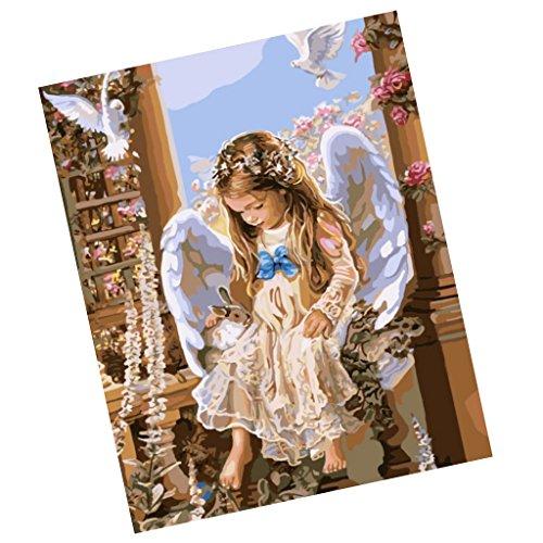 MagiDeal Rahmenloses DIY Malerei , Malen nach Zahlen , Leinwand Wand Bild , Engel in der Kirche -