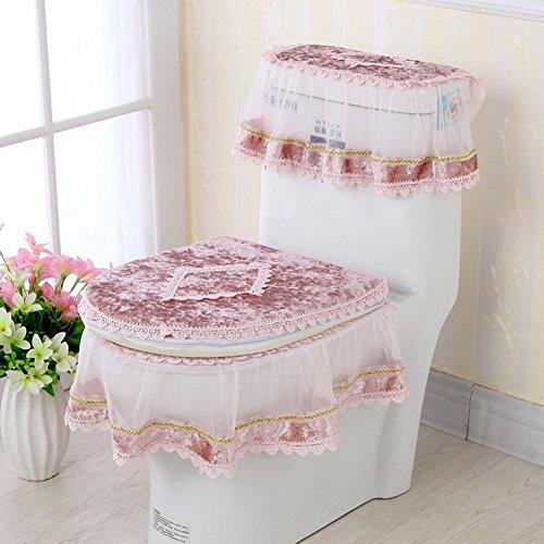 gaojiangang A Antirutschmatten Spitze Toilette, Gold Velvet Reißverschluss Toiletten-seat Kissen, Dreiteilige WC-sitzauflagen, WC Deckel Kreis sitzbezug-A