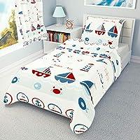 Duvet Cover + Pillowcase 120 cm x 150 cm Toddler Bedding Set Sailing Boats 100% Cotton (120x150 cm)
