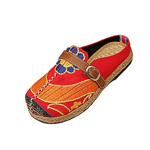 Comodi Appartamenti in Vendita Espadrillas Inferiori Fiore Ricamato Sandali Pantofola Guida Scarpe da Lavoro per Donne/Ragazze di Kinlene