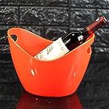 JLCP Eis Schaufel Kunststoff Ice Pellet Barrel Familienfeier Picknick Reise-Bar Wein Cocktail Kühler Platte Speichergerät 8L,Orange