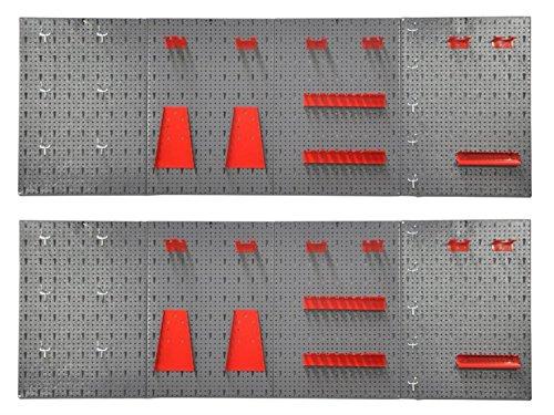 Vorteils-Pack: 2 Stück XXL Lochwand bestehend aus 8 Lochblechen á 58 x 40 cm und Hakensortiment 44 Teile. Aus Metall in Hammerschlag-Grau und Rot.