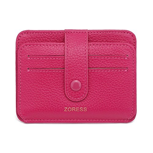 201a991982a7 ZORESS Womens Leather RFID Blocking Slim Credit Card Case Holder Travel  Front Pocket Wallet (Rose
