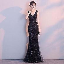 Vestido de noche Hembra Banquete Noble Elegante Negro Sexy Larga Sección Bifurcación Cola De Pescado Vestido