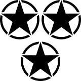 3 stück Sterne 7cm schwarz USA US Army MP Auto Tuning Aufkleber Tattoo die cut Deko Folie