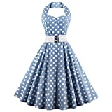 DealMux Retro Halter Sweetheart Neck Polka Dot Flare Dress Light Blue L