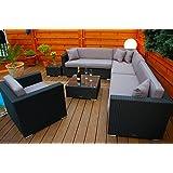 PolyRattan Lounge DEUTSCHE MARKE -- EIGNENE PRODUKTION -- 7 Jahre GARANTIE Garten Möbel incl. Glas und Polster Ragnarök-Möbeldesign (schwarz) Gartenmöbel
