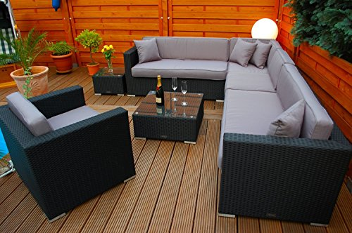 PolyRattan Lounge DEUTSCHE MARKE — EIGNENE PRODUKTION — 7 Jahre GARANTIE Garten Möbel incl. Glas und Polster Ragnarök-Möbeldesign (schwarz) Gartenmöbel