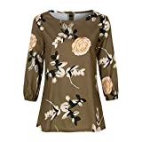 Boomboom Women's Autumn Casual Three Quarter Sleeve Floral Top Blouse Multicolor M