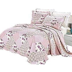 Lujo 3 pieza de Patchwork throws bordados Colcha,Hermosos conjuntos de ropa de cama de lujo Floral con funda de almohada, Consolador Establecer ( Doble Rosa / Durazno ),Incluyen 1 Cubrecamas acolchados y 2 almohadas decorativas