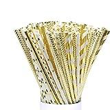 100 Bioabbaubare lange Trinkhalm Papierstrohhalm gestreift für Geburtstag, Hochzeit, Babayparty, Feiern und Treffen, golden, weiß