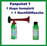 ORIGINAL Simply Fanpaket 1-----1 Hupe komplett 1 Nachfüllflasche die Top Hupe Fanfare Tröte Drucklufthupe EU Gesetz komform sehr UMWELTFREUNDLICH 120 db